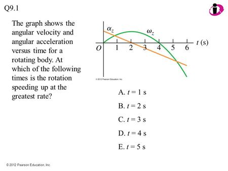 © 2012 Pearson Education, Inc. The graph shows the angular velocity and angular acceleration versus time for a rotating body. At which of the following.