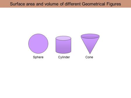 Surface area and volume of different Geometrical Figures SphereCylinderCone.
