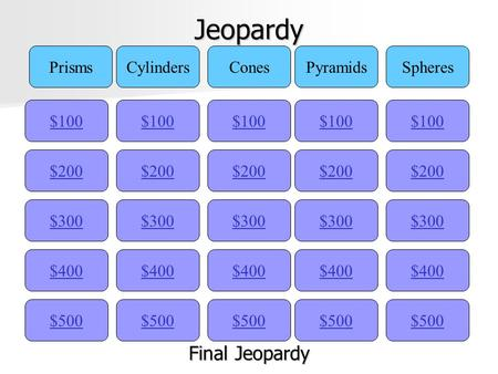 Jeopardy Final Jeopardy Prisms Cylinders Cones Pyramids Spheres $100