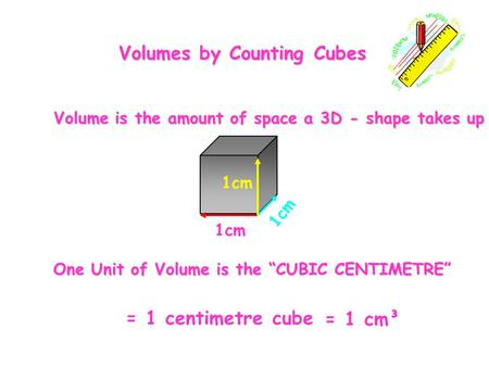 "= 1 centimetre cube 1cm = 1 cm³ One Unit of Volume is the ""CUBIC CENTIMETRE"" Volume is the amount of space a 3D - shape takes up Volumes by Counting Cubes."