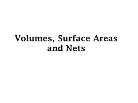 Volumes, Surface Areas and Nets. Volume is the space occupied by a 3-D shape. It is calculated by multiplying the three dimensions together. Consider.