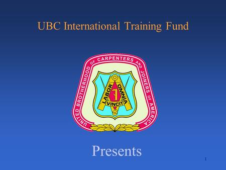 1 UBC International Training Fund Presents. Tensioning.