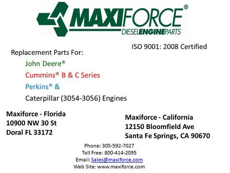 ISO 9001: 2008 Certified Replacement Parts For: John Deere®