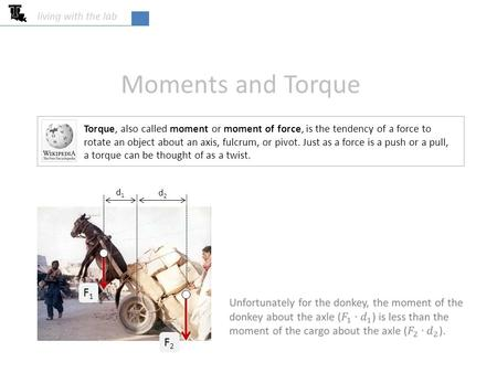 Moments and Torque living with the lab Torque, also called moment or moment of force, is the tendency of a force to rotate an object about an axis, fulcrum,
