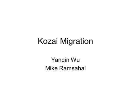Kozai Migration Yanqin Wu Mike Ramsahai. The distribution of orbital periods P(T) increases from 120 to 2000 days Incomplete for longer periods Clear.