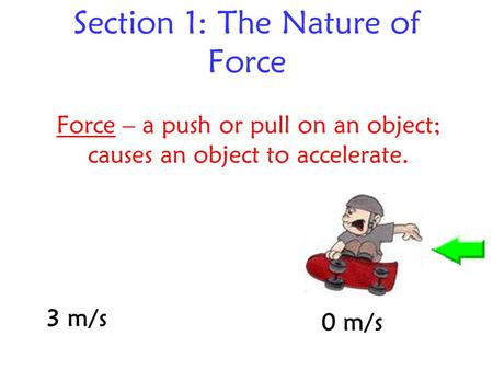 Section 1: The Nature of Force Force – a push or pull on an object; causes an object to accelerate. 0 m/s 3 m/s.