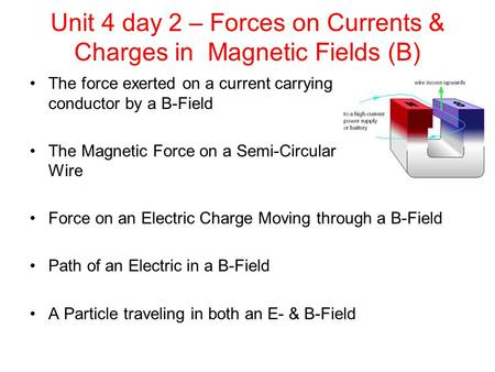 Unit 4 day 2 – Forces on Currents & Charges in Magnetic Fields (B) The force exerted on a current carrying conductor by a B-Field The Magnetic Force on.