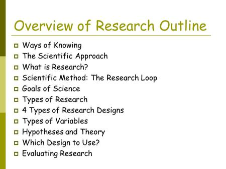 Overview of Research Outline
