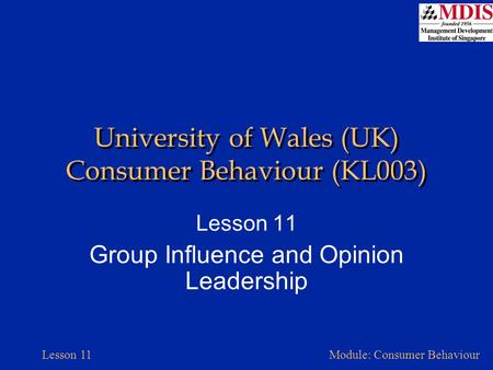 Lesson 11Module: Consumer Behaviour University of Wales (UK) Consumer Behaviour (KL003) Lesson 11 Group Influence and Opinion Leadership.