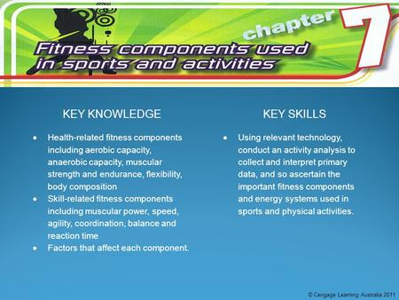 KEY KNOWLEDGEKEY SKILLS  Health-related fitness components including aerobic capacity, anaerobic capacity, muscular strength and endurance, flexibility,
