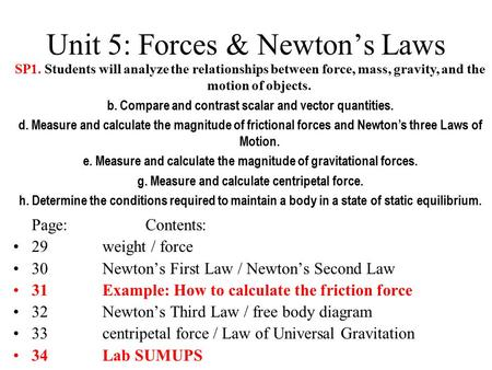 Unit 5: Forces & Newton's Laws Page:Contents: 29weight / force 30Newton's First Law / Newton's Second Law 31Example: How to calculate the friction force.