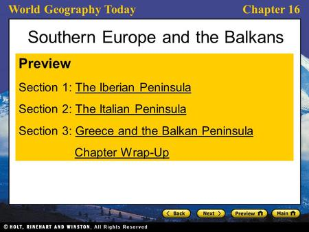 Southern Europe and the Balkans