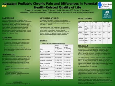Pediatric Chronic Pain and Differences in Parental Health-Related Quality of Life Gustavo R. Medrano¹, Susan T. Heinze¹, Keri R. Hainsworth 2,3, Steven.