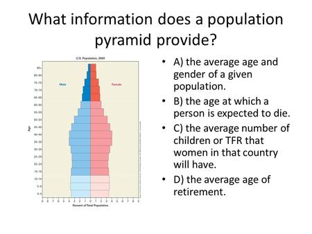 What information does a population pyramid provide? A) the average age and gender of a given population. B) the age at which a person is expected to die.