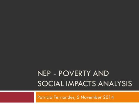 NEP - POVERTY AND SOCIAL IMPACTS ANALYSIS Patricia Fernandes, 5 November 2014.