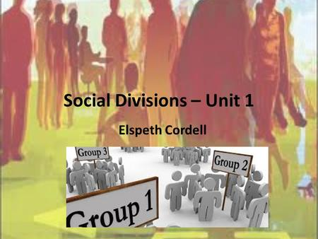Social Divisions – Unit 1 Elspeth Cordell. Outcomes Define Social Diversity Define Ethnicity Outcome one: C1.1- Analyse the social diversity of People.