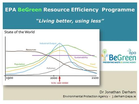 "EPA BeGreen Resource Efficiency Programme ""Living better, using less"" Dr Jonathan Derham Environmental Protection Agency -"