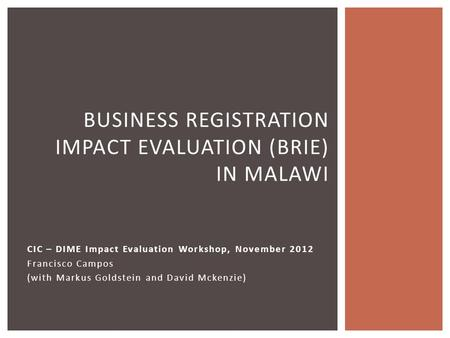 CIC – DIME Impact Evaluation Workshop, November 2012 Francisco Campos (with Markus Goldstein and David Mckenzie) 1 BUSINESS REGISTRATION IMPACT EVALUATION.