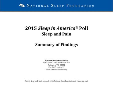 2015 Sleep in America® Poll Sleep and Pain