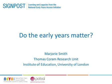 Do the early years matter?