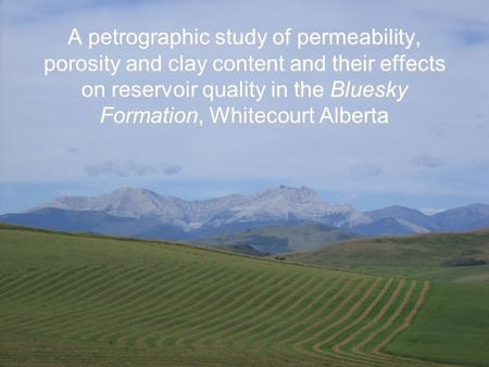 A petrographic study of permeability, porosity and clay content and their effects on reservoir quality in the Bluesky Formation, Whitecourt Alberta.