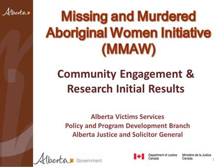 Community Engagement & Research Initial Results Alberta Victims Services Policy and Program Development Branch Alberta Justice and Solicitor General 1.