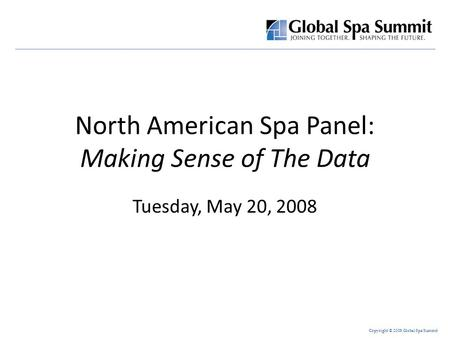 Copyright © 2008 Global Spa Summit North American Spa Panel: Making Sense of The Data Tuesday, May 20, 2008.