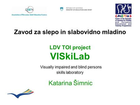 Zavod za slepo in slabovidno mladino LDV TOI project VISkiLab Visually impaired and blind persons skills laboratory Katarina Šimnic.