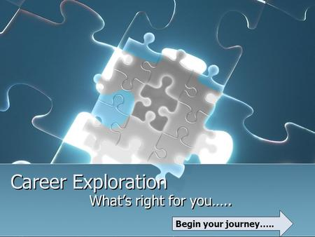 Career Exploration What's right for you….. Begin your journey…..