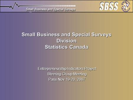 Small Business and Special Surveys Division Statistics Canada Entrepreneurship Indicators Project Steering Group Meeting Paris Nov 19-20, 2007.