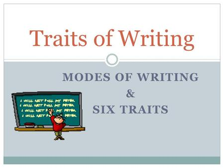 MODES OF WRITING & SIX TRAITS Traits of Writing. Modes of Writing Narrative Writing  Purpose – to tell a story Expository Writing  Purpose – to inform.