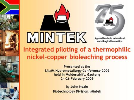 Presented at the SAIMM Hydrometallurgy Conference 2009