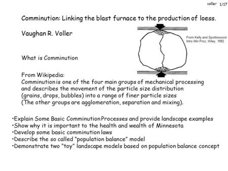 Voller Comminution: Linking the blast furnace to the production of loess. Vaughan R. Voller What is Comminution From Wikipedia: Comminution is one of the.