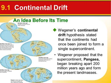 An Idea Before Its Time 9.1 Continental Drift  Wegener's continental drift hypothesis stated that the continents had once been joined to form a single.