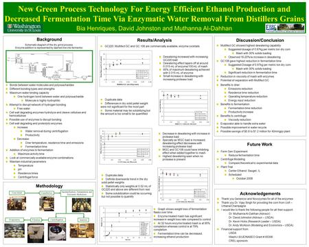 Bia Henriques, David Johnston and Muthanna Al-Dahhan Results/Analysis New Green Process Technology For Energy Efficient Ethanol Production and Decreased.