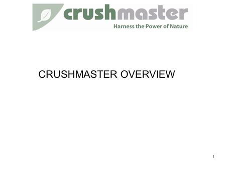 CRUSHMASTER OVERVIEW 1. 2 Crushmaster Manufacturing Plant in Shanghai China.