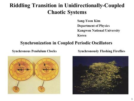 1 Riddling Transition in Unidirectionally-Coupled Chaotic Systems Sang-Yoon Kim Department of Physics Kangwon National University Korea Synchronization.