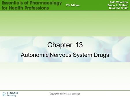 Copyright © 2015 Cengage Learning® Chapter 13 Autonomic Nervous System Drugs.