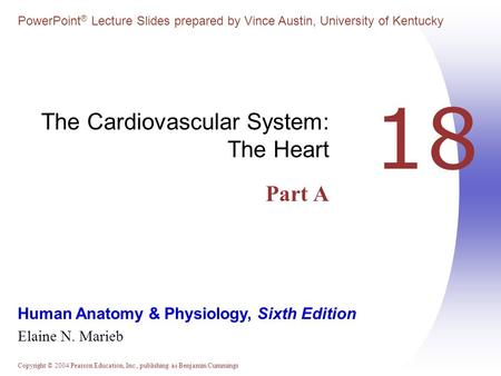 The Cardiovascular System: The Heart Part A