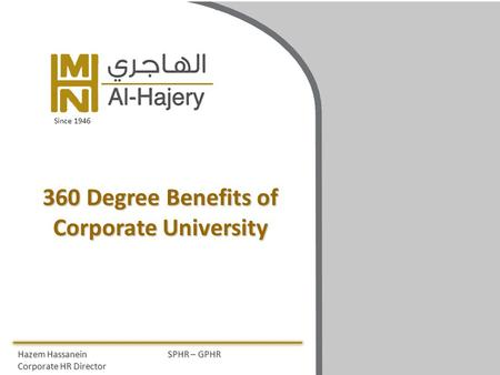 360 Degree Benefits of Corporate University Hazem HassaneinSPHR – GPHR Corporate HR Director Since 1946.