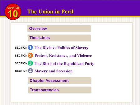 The Union in Peril 10 CHAPTER Overview Time Lines Transparencies Chapter Assessment The Divisive Politics of Slavery Protest, Resistance, and Violence.