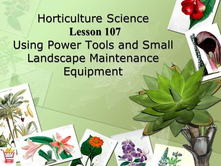 Horticulture Science Lesson 107 Using Power Tools and Small Landscape Maintenance Equipment.