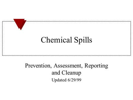 Prevention, Assessment, Reporting and Cleanup Updated 6/29/99
