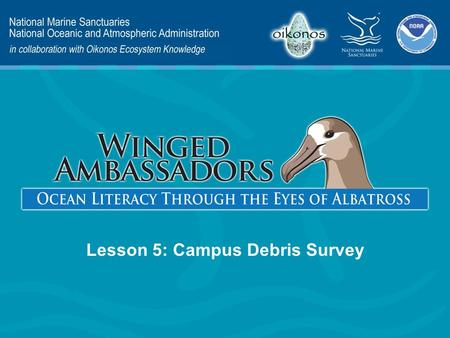 Lesson 5: Campus Debris Survey. Lesson 5 Presentation Content Engage Explore Explain Elaborate Evaluate – Litter and Albatross – Litter on Our Campus.