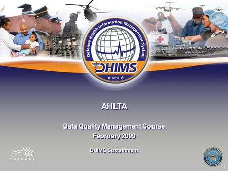 1 AHLTA Data Quality Management Course February 2009 Data Quality Management Course February 2009 DHIMS Sustainment.