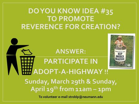 DO YOU KNOW IDEA #35 TO PROMOTE REVERENCE FOR CREATION?