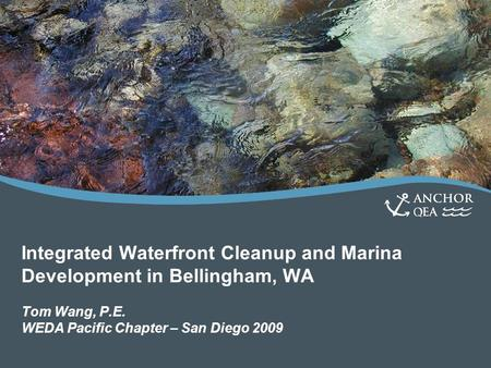 Integrated Waterfront Cleanup and Marina Development in Bellingham, WA Tom Wang, P.E. WEDA Pacific Chapter – San Diego 2009.