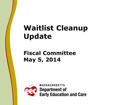Waitlist Cleanup Update Fiscal Committee May 5, 2014.