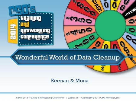 CSO's 2014 Training & Networking Conference | Austin, TX | Copyright © 2014 CSO Research, Inc. Wonderful World of Data Cleanup Keenan & Mona.
