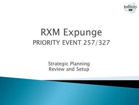 Strategic Planning Review and Setup RXM Expunge PRIORITY EVENT 257/327.